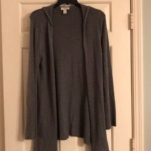 Gray hooded cardigan sweater super soft!